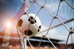 Soccer ball soars into goal net