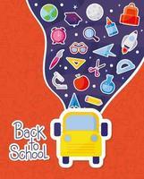 autobús amarillo y conjunto de iconos de regreso a la escuela