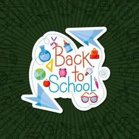 Paper planes with icon set of back to school vector