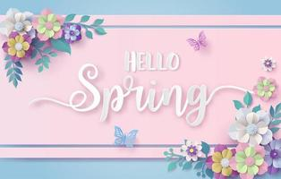 Spring season with frame of flower and leaves. vector