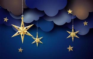 Origami star hang on sky in dark night, vector