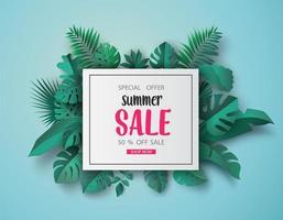 Summer sale banner paper cut vector