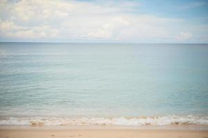 Blue ocean and sandy beach background photo