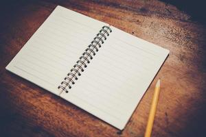 Blank white notebook with copy space photo