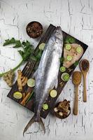 Mackerel fish and cooking spices ingredients