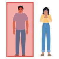avatar hombre y mujer con fiebre en cuarentena