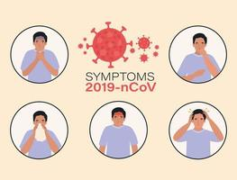 Avatar man with 2019 ncov virus symptoms design