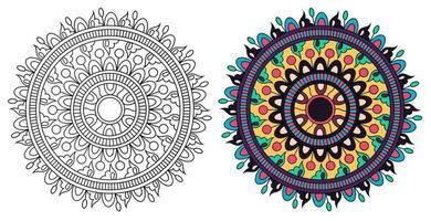 Rounded Ornamental Decorative Colouring Mandala Colouring Book vector
