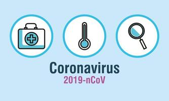 Coronavirus prevention banner with medical icons vector