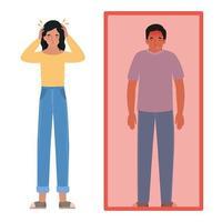 avatar hombre y mujer con dolor de cabeza y fiebre vector
