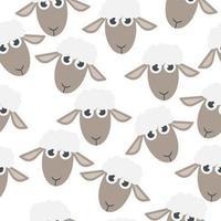 Cartoon Heads of Sheep Seamless Pattern vector