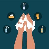 Hands washing and icon set design vector