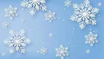 Christmas card with paper cut snowflakes vector