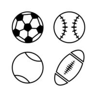 Sports Balls Line Icons vector