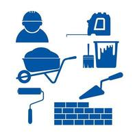 Construction Equipment and Materials Icons vector