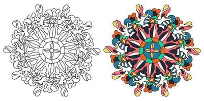 Rounded Ornamental Decorative Colouring Mandala Colouring Book Page vector