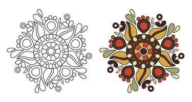 Mandala decorativa ornamental redondeada para colorear página de libro para colorear