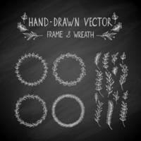 marco dibujado a mano y corona vector