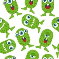 Green Creatures Seamless Background Pattern vector