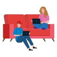 Couple on the couch working from home vector