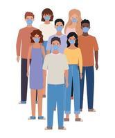 Avatar hombres y mujeres con diseño de máscaras médicas.