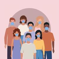 hombres y mujeres con diseño de máscaras.