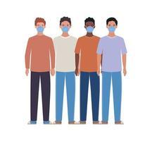 Avatar hombres con diseño de máscaras médicas.