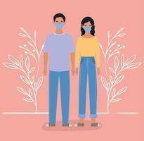 hombre y mujer con diseño de máscaras