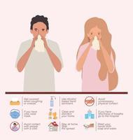 mujer y hombre con resfriado del virus ncov 2019 vector