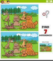 Tarea de diferencias con el grupo de perros de dibujos animados vector