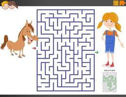 juego de laberinto con niña de dibujos animados y pony vector