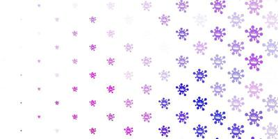Light purple, pink background with covid-19 symbols.