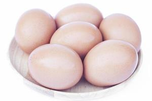 Close-up of eggs isolated on a white background photo