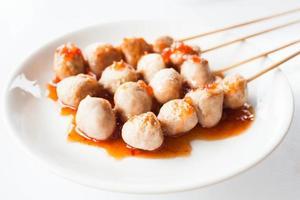 Pork balls on skewers