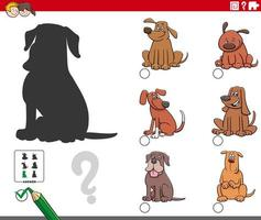 Tarea de sombras con personajes de perros de dibujos animados vector