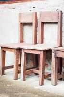 Rustic wooden chairs photo