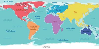 World map with continents names and oceans vector