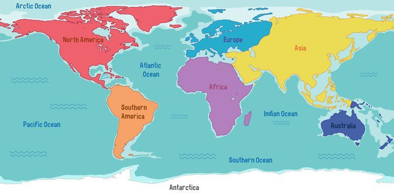 World Map With Continents Names And Oceans Download Free Vectors Clipart Graphics Vector Art