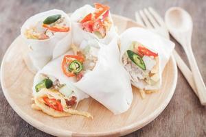 Fresh spring rolls with utensils