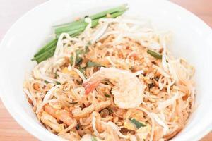 Close-up of a shrimp noodle dish