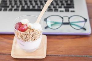 Breakfast on a desk photo