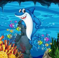 muchos tiburones personaje de dibujos animados en el fondo submarino vector