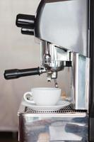 Side view of an espresso machine