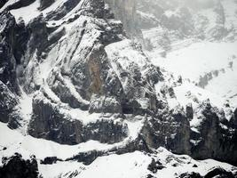 High angle-view of mountain coated with snow photo