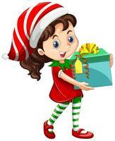 Cute girl wearing Christmas costumes cartoon character