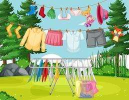 Clothes hanging on line in the yard vector