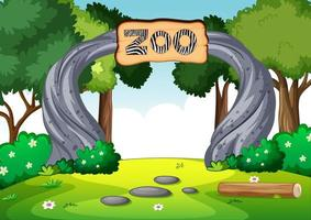 Empty zoo in nature scene vector