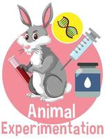Animal Experimentation font with a rabbit logo in cartoon style vector