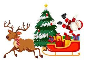 Santa Claus with many gifts on a sleigh with reindeer on white background