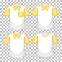 Set of different shirts with yellow sleeves isolated on transparent background vector